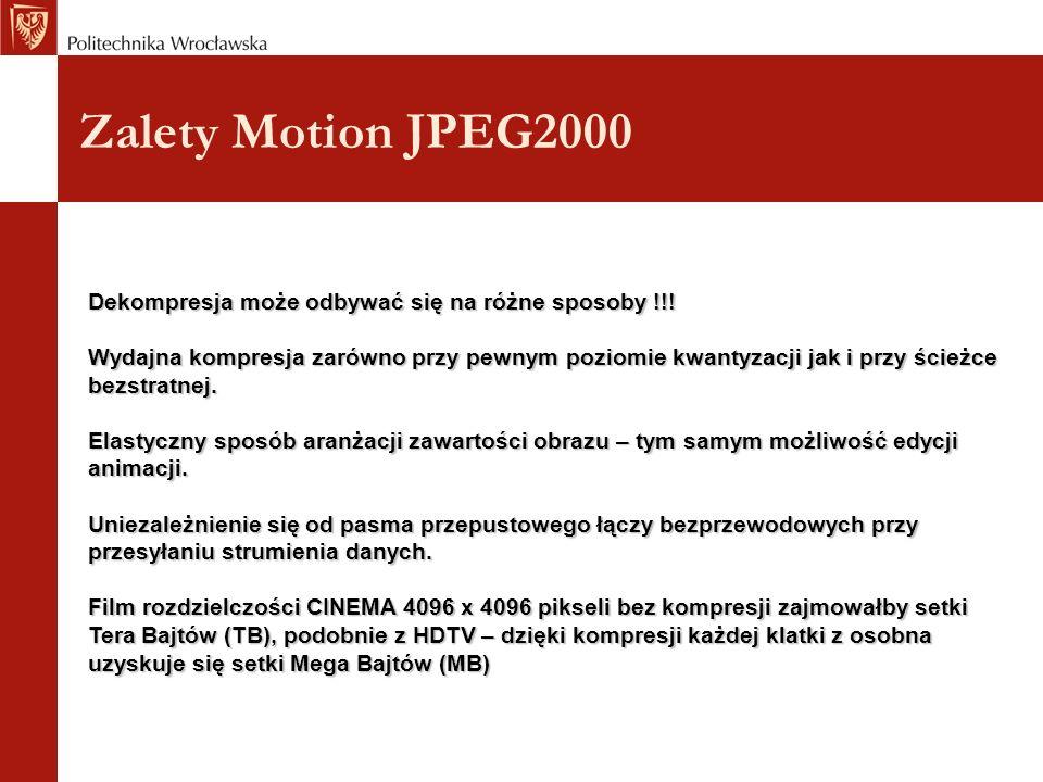 Zalety Motion JPEG2000 Dekompresja może odbywać się na różne sposoby !!.
