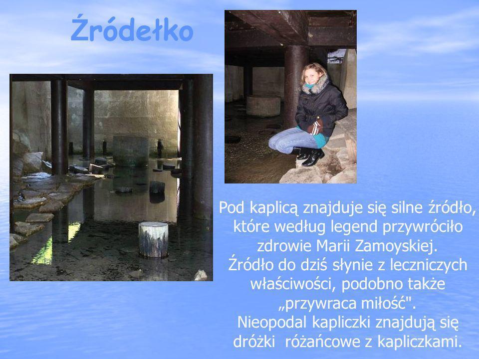 Pod kaplicą znajduje się silne źródło, które według legend przywróciło zdrowie Marii Zamoyskiej. Źródło do dziś słynie z leczniczych właściwości, podo