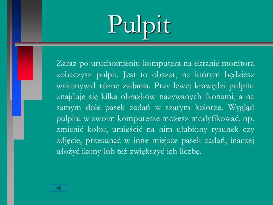 Pulpit ikony pasek zadań PULPIT przycisk Startzasobnik systemowy