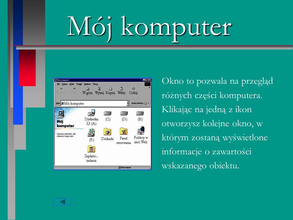 Mój komputer Dwukrotne kliknięcie tej ikony powoduje pokazanie się innych ikon symbolizujących różne części komputera.