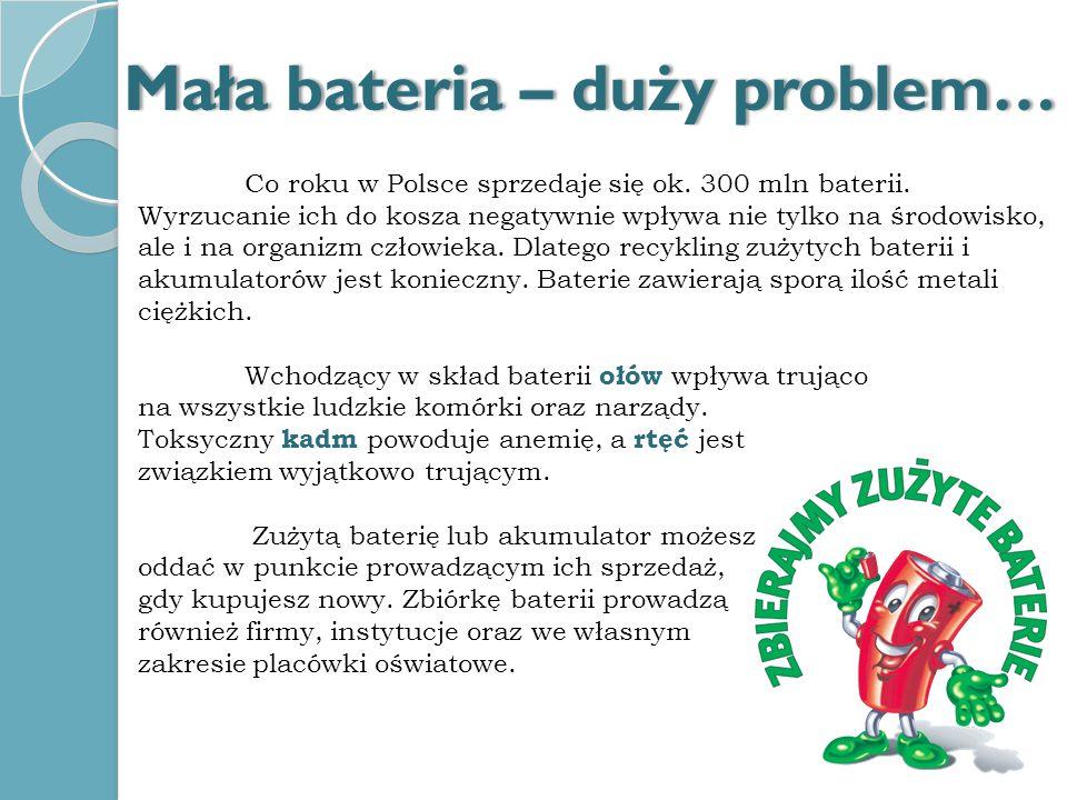 Co roku w Polsce sprzedaje się ok. 300 mln baterii. Wyrzucanie ich do kosza negatywnie wpływa nie tylko na środowisko, ale i na organizm człowieka. Dl