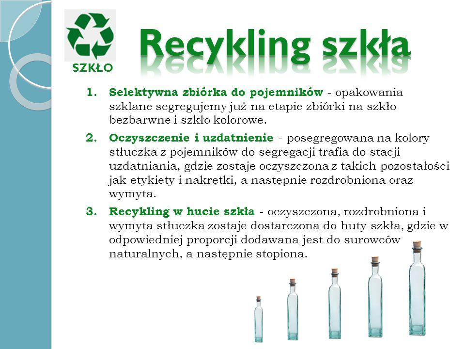 1. Selektywna zbiórka do pojemników - opakowania szklane segregujemy już na etapie zbiórki na szkło bezbarwne i szkło kolorowe. 2. Oczyszczenie i uzda
