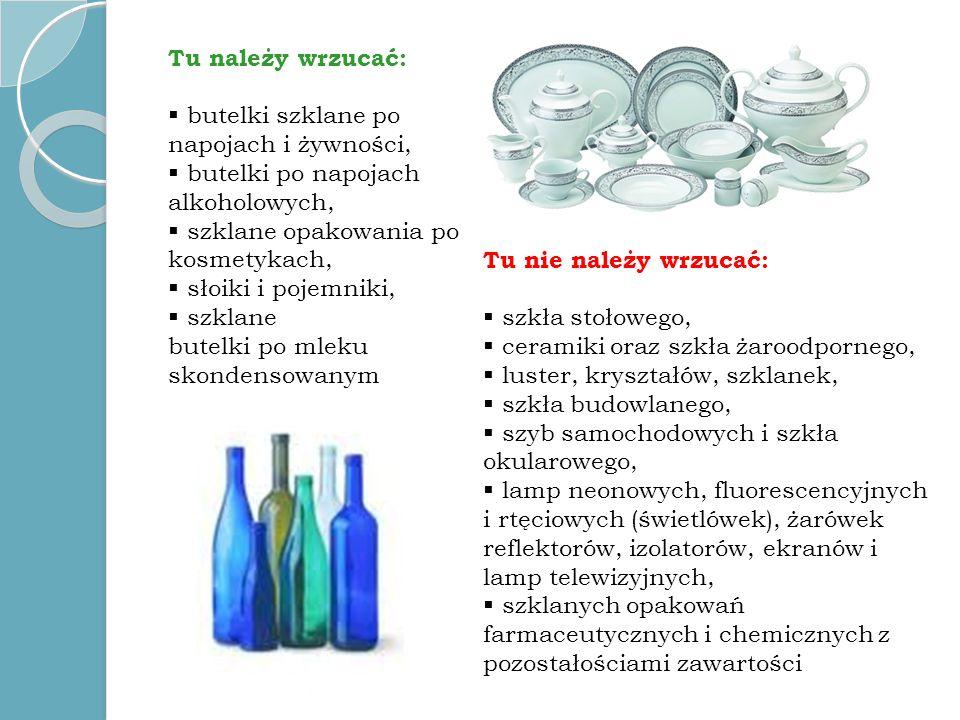 Tu należy wrzucać: butelki szklane po napojach i żywności, butelki po napojach alkoholowych, szklane opakowania po kosmetykach, słoiki i pojemniki, sz
