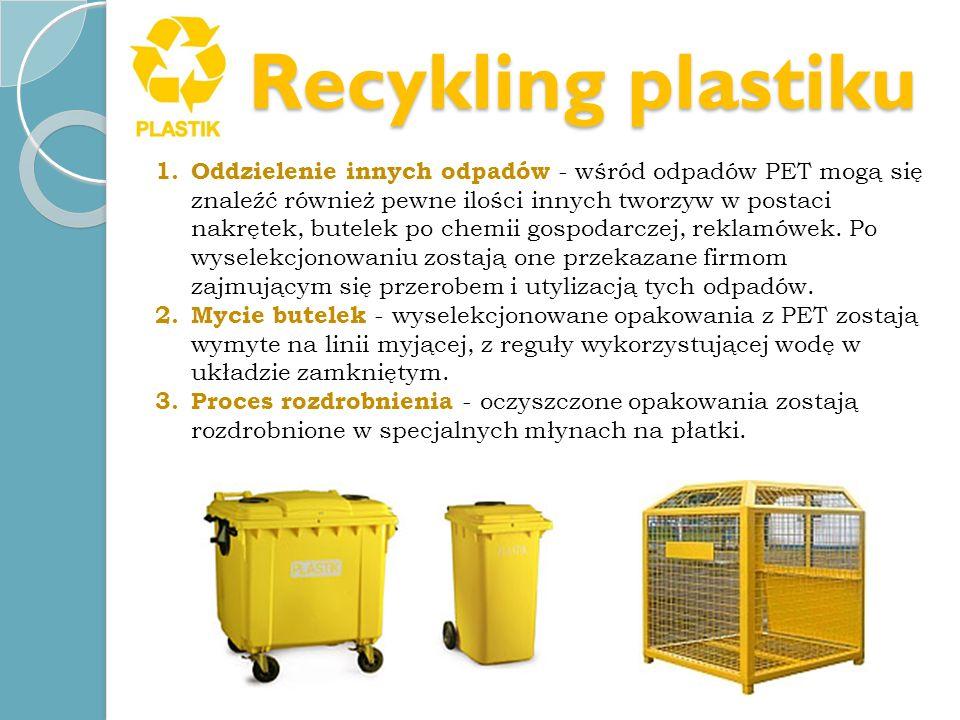 Recykling plastiku 1. Oddzielenie innych odpadów - wśród odpadów PET mogą się znaleźć również pewne ilości innych tworzyw w postaci nakrętek, butelek