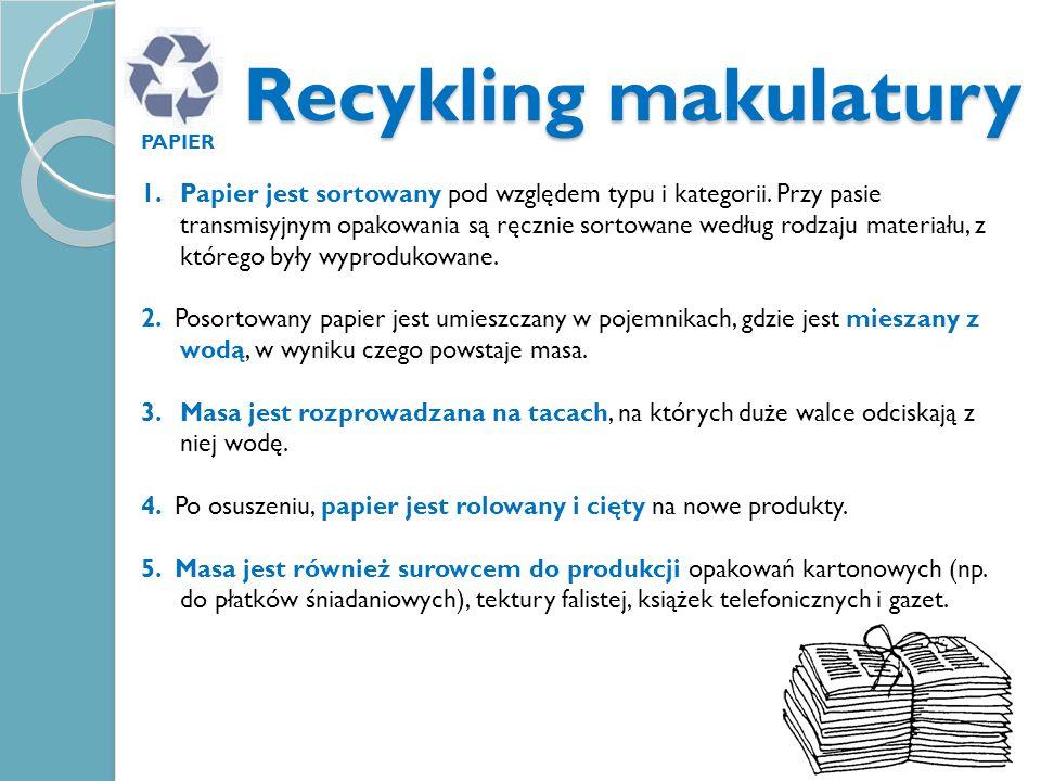 Recykling makulatury PAPIER 1.Papier jest sortowany pod względem typu i kategorii. Przy pasie transmisyjnym opakowania są ręcznie sortowane według rod