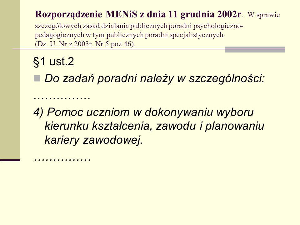 Rozporządzenie MENiS z dnia 11 grudnia 2002r. W sprawie szczegółowych zasad działania publicznych poradni psychologiczno- pedagogicznych w tym publicz