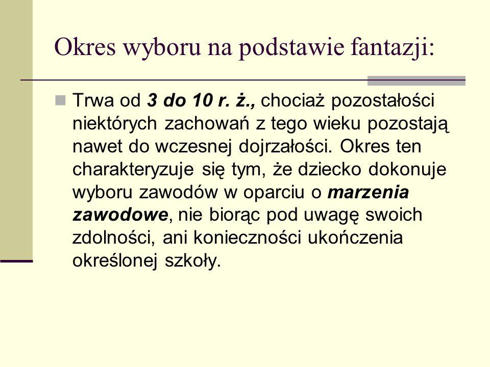 Okres wyboru na podstawie fantazji: Trwa od 3 do 10 r. ż., chociaż pozostałości niektórych zachowań z tego wieku pozostają nawet do wczesnej dojrzałoś