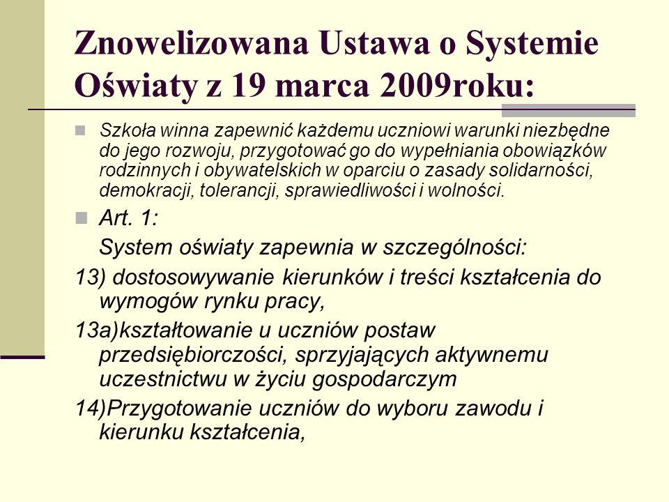 Znowelizowana Ustawa o Systemie Oświaty z 19 marca 2009roku: Szkoła winna zapewnić każdemu uczniowi warunki niezbędne do jego rozwoju, przygotować go