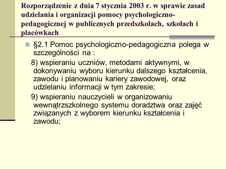 Rozporządzenie z dnia 7 stycznia 2003 r. w sprawie zasad udzielania i organizacji pomocy psychologiczno- pedagogicznej w publicznych przedszkolach, sz