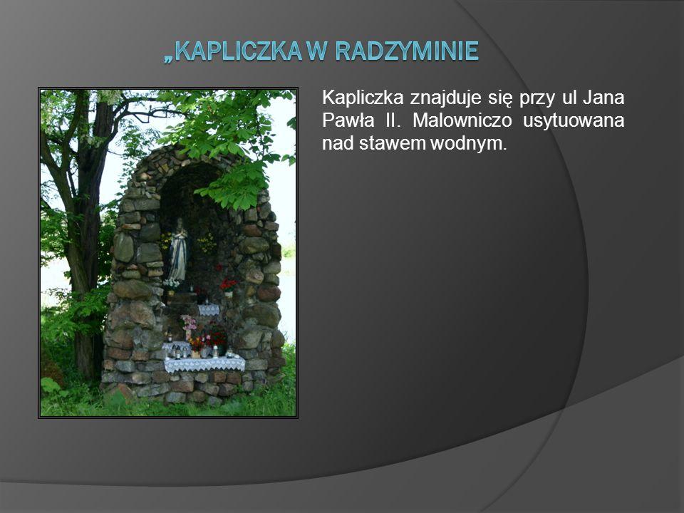 Kapliczka znajduje się przy ul Jana Pawła II. Malowniczo usytuowana nad stawem wodnym.