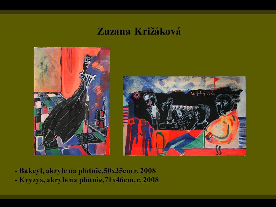 Zuzana Križáková - Bakcyl, akryle na płótnie,50x35cm r. 2008 - Kryzys, akryle na płótnie,71x46cm, r. 2008
