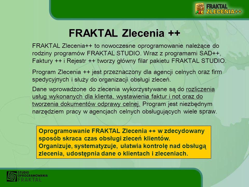 FRAKTAL Zlecenia++ to nowoczesne oprogramowanie należące do rodziny programów FRAKTAL STUDIO. Wraz z programami SAD++, Faktury ++ i Rejestr ++ tworzy