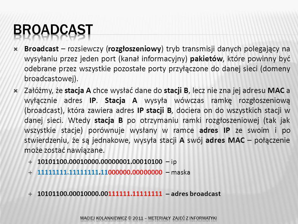 Broadcast – rozsiewczy (rozgłoszeniowy) tryb transmisji danych polegający na wysyłaniu przez jeden port (kanał informacyjny) pakietów, które powinny być odebrane przez wszystkie pozostałe porty przyłączone do danej sieci (domeny broadcastowej).