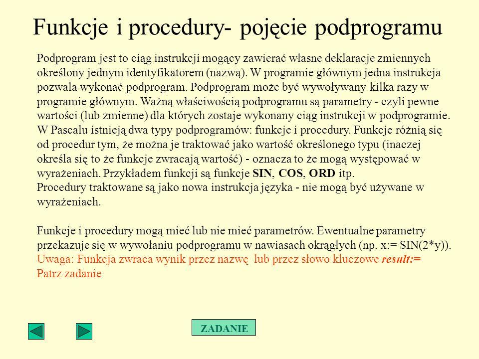 Funkcje i procedury- pojęcie podprogramu Podprogram jest to ciąg instrukcji mogący zawierać własne deklaracje zmiennych określony jednym identyfikator