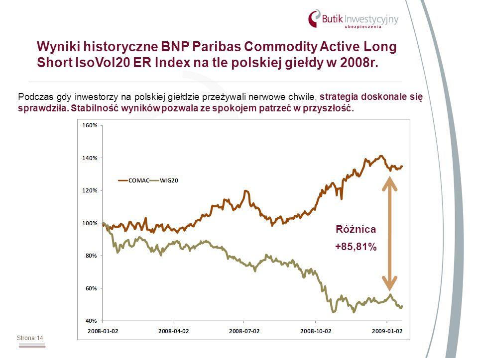 Strona 14 Wyniki historyczne BNP Paribas Commodity Active Long Short IsoVol20 ER Index na tle polskiej giełdy w 2008r. Strona 14 Podczas gdy inwestorz