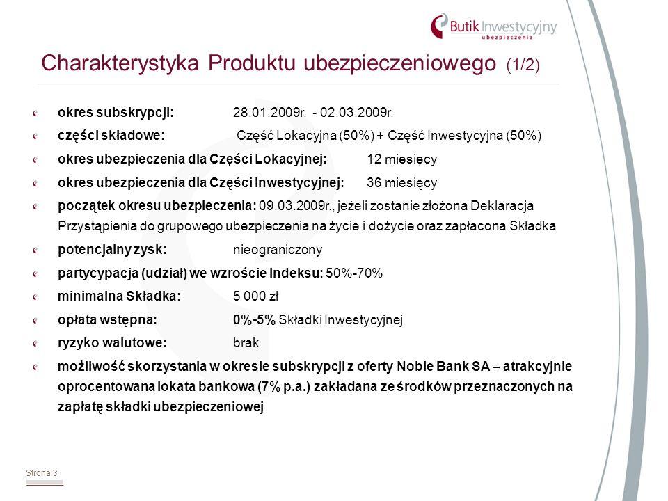 Strona 3 Charakterystyka Produktu ubezpieczeniowego (1/2) okres subskrypcji:28.01.2009r. - 02.03.2009r. części składowe: Część Lokacyjna (50%) + Część