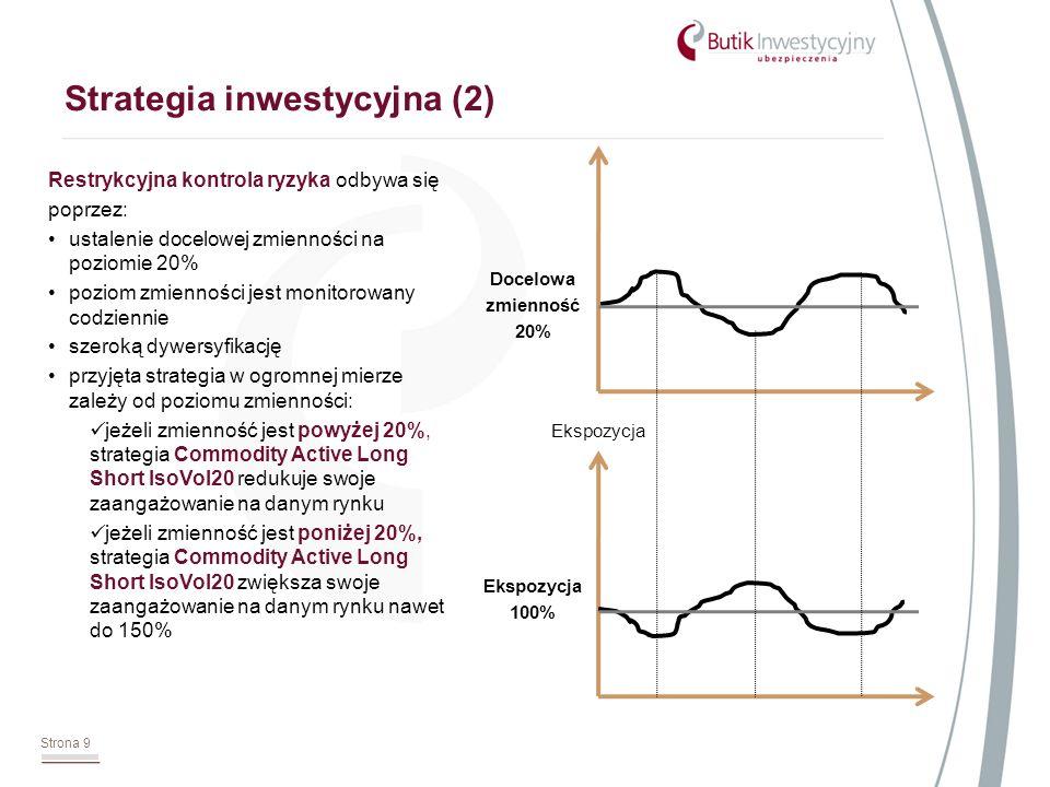 Strona 9 Strategia inwestycyjna (2) Restrykcyjna kontrola ryzyka odbywa się poprzez: ustalenie docelowej zmienności na poziomie 20% poziom zmienności jest monitorowany codziennie szeroką dywersyfikację przyjęta strategia w ogromnej mierze zależy od poziomu zmienności: jeżeli zmienność jest powyżej 20%, strategia Commodity Active Long Short IsoVol20 redukuje swoje zaangażowanie na danym rynku jeżeli zmienność jest poniżej 20%, strategia Commodity Active Long Short IsoVol20 zwiększa swoje zaangażowanie na danym rynku nawet do 150% Docelowa zmienność 20% Ekspozycja 100% Ekspozycja