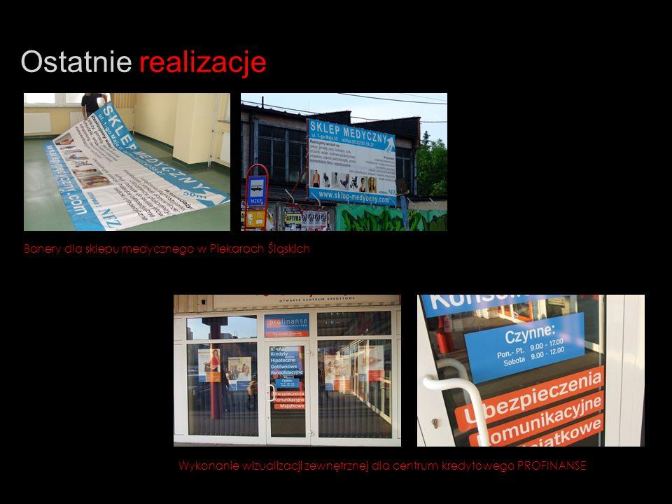 Ostatnie realizacje Banery dla sklepu medycznego w Piekarach Śląskich Wykonanie wizualizacji zewnętrznej dla centrum kredytowego PROFINANSE