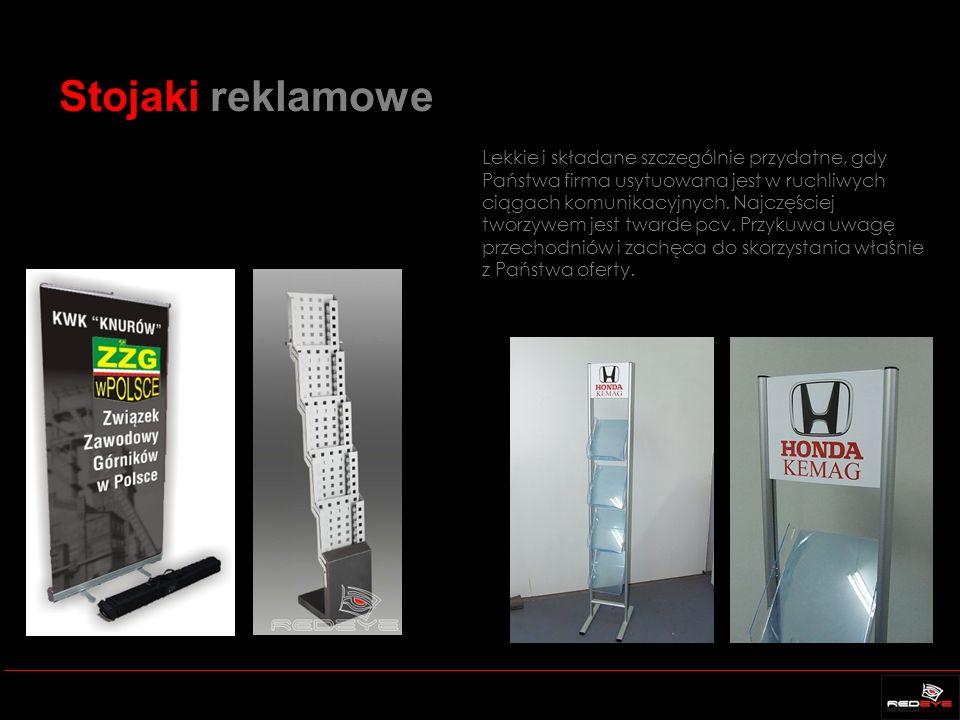 Stojaki reklamowe Lekkie i składane szczególnie przydatne, gdy Państwa firma usytuowana jest w ruchliwych ciągach komunikacyjnych.