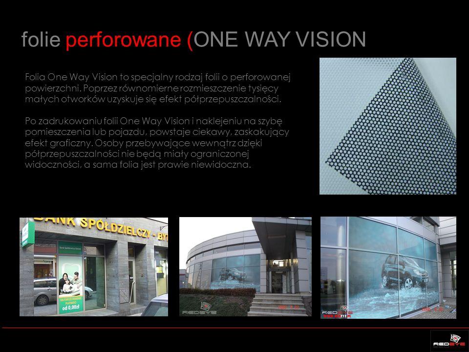folie perforowane (ONE WAY VISION Folia One Way Vision to specjalny rodzaj folii o perforowanej powierzchni. Poprzez równomierne rozmieszczenie tysięc