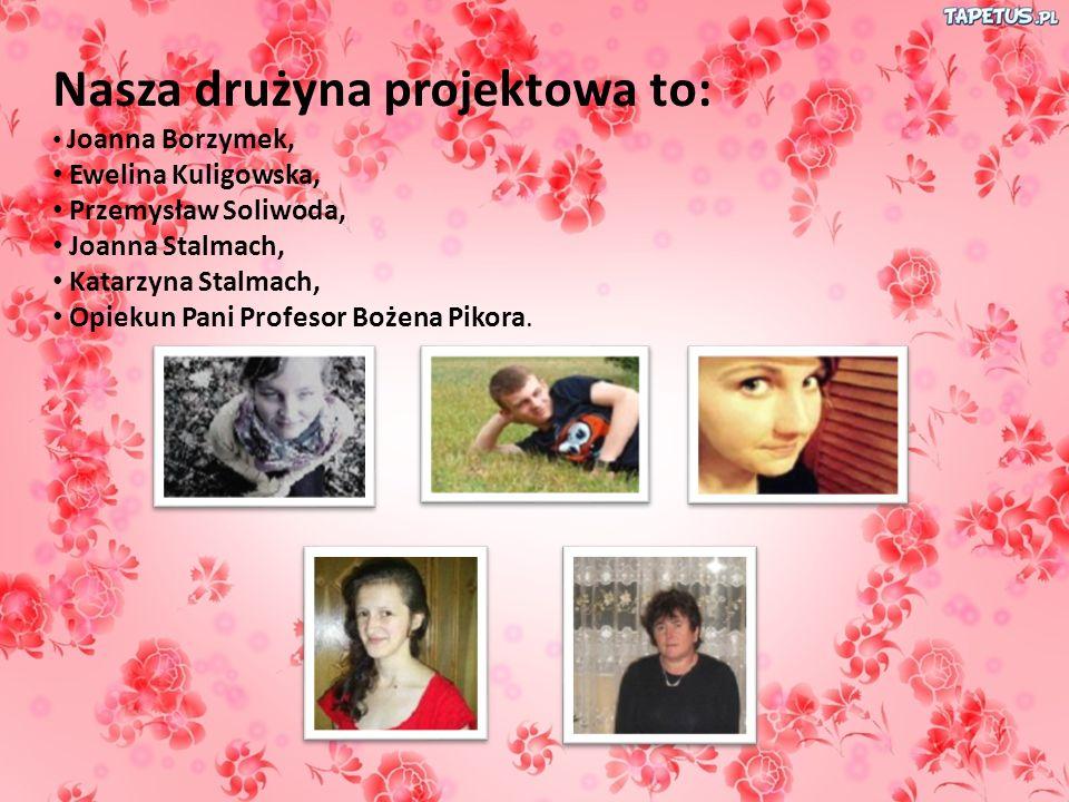 Nasza drużyna projektowa to: Joanna Borzymek, Ewelina Kuligowska, Przemysław Soliwoda, Joanna Stalmach, Katarzyna Stalmach, Opiekun Pani Profesor Bożena Pikora.