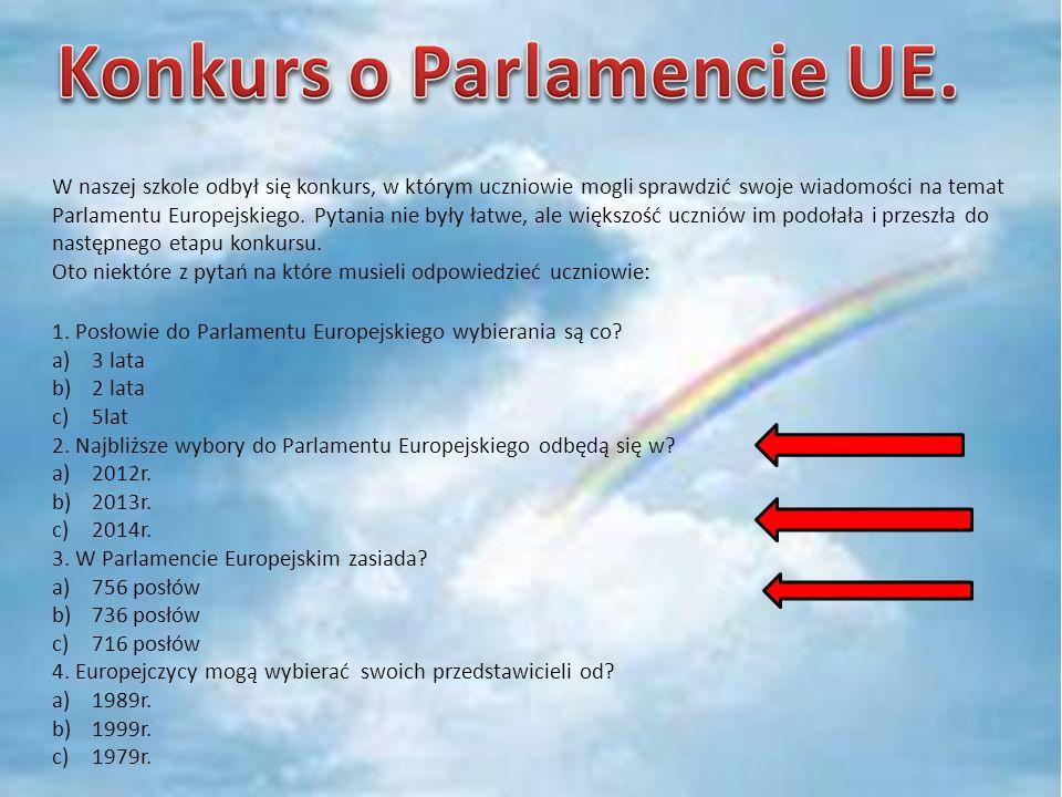 II etap konkursu z wiedzy o Parlamencie Europejskim odbył się 20 grudnia 2011 roku o godzinie 13.40 w świetlicy szkolnej.