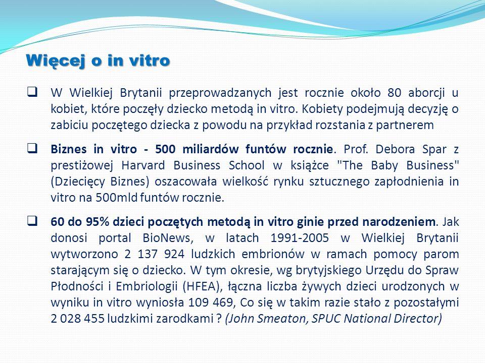 Więcej o in vitro W Wielkiej Brytanii przeprowadzanych jest rocznie około 80 aborcji u kobiet, które poczęły dziecko metodą in vitro. Kobiety podejmuj