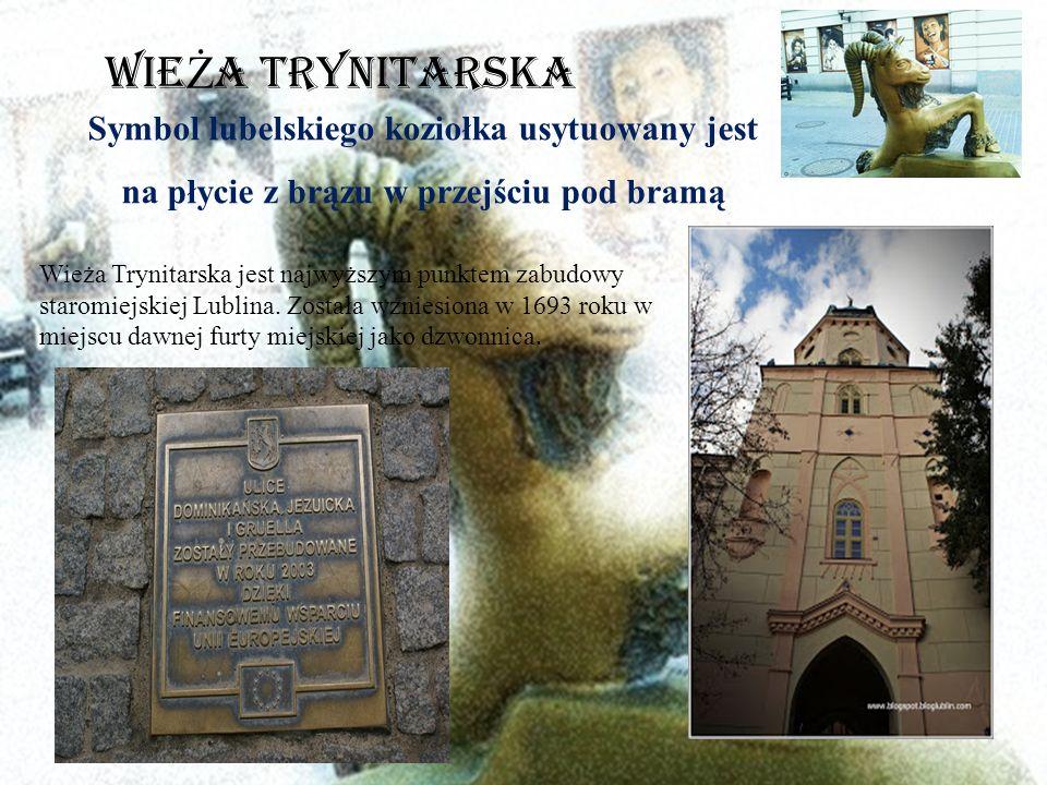 Symbol lubelskiego koziołka usytuowany jest na płycie z brązu w przejściu pod bramą Wieża Trynitarska jest najwyższym punktem zabudowy staromiejskiej Lublina.