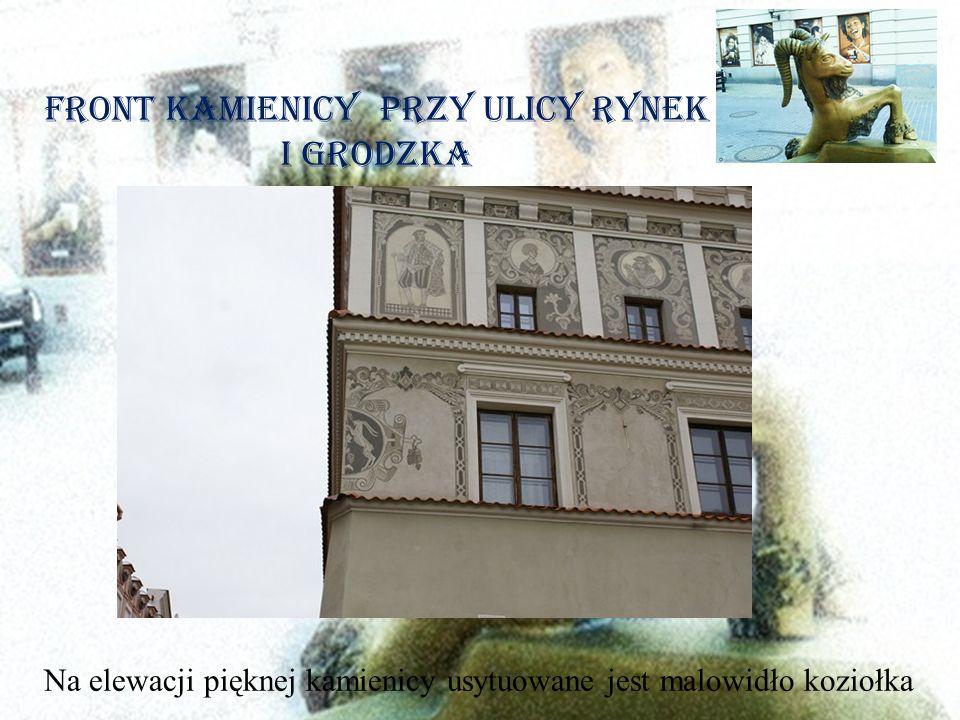 Front Kamienicy przy ulicy Rynek i Grodzka Na elewacji pięknej kamienicy usytuowane jest malowidło koziołka