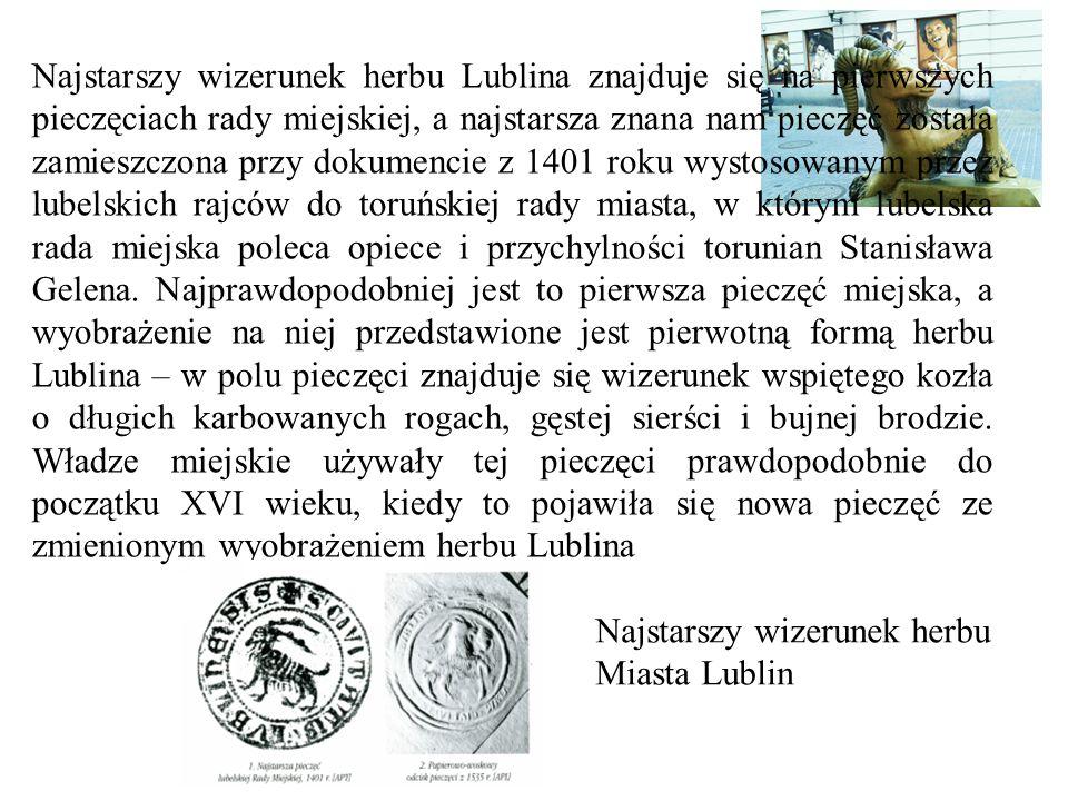 Najstarszy wizerunek herbu Lublina znajduje się na pierwszych pieczęciach rady miejskiej, a najstarsza znana nam pieczęć została zamieszczona przy dokumencie z 1401 roku wystosowanym przez lubelskich rajców do toruńskiej rady miasta, w którym lubelska rada miejska poleca opiece i przychylności torunian Stanisława Gelena.
