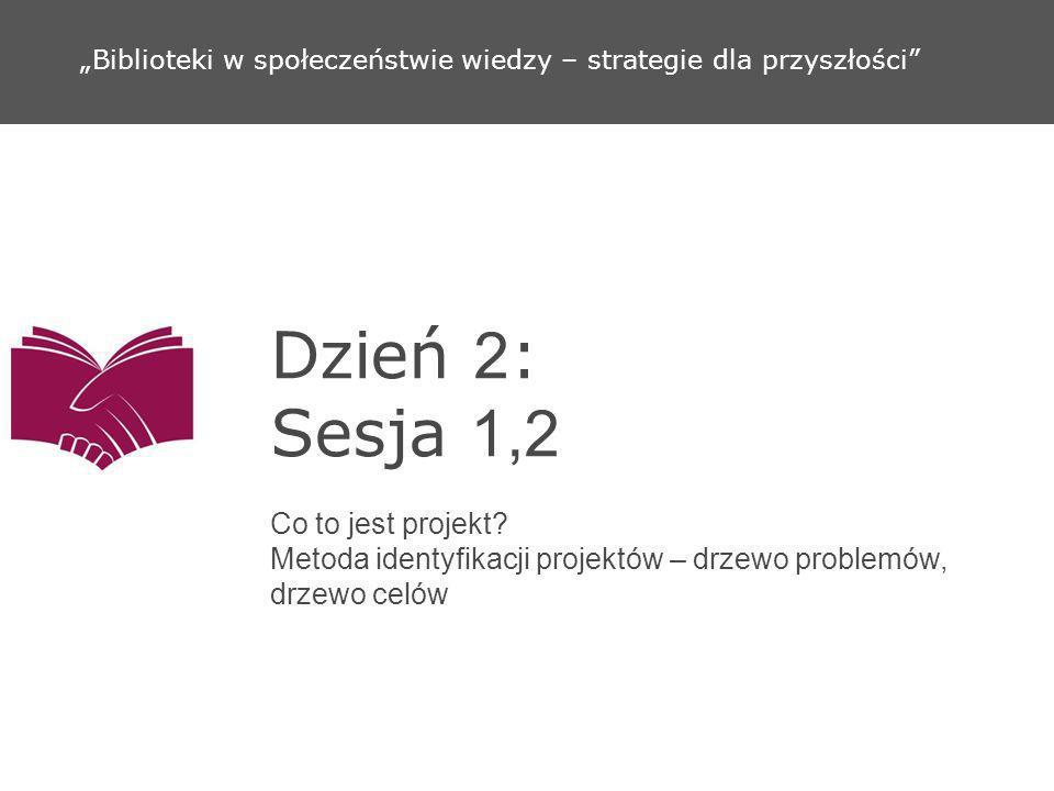 Dzień 2 : Sesja 1,2 Co to jest projekt? Metoda identyfikacji projektów – drzewo problemów, drzewo celów Biblioteki w społeczeństwie wiedzy – strategie