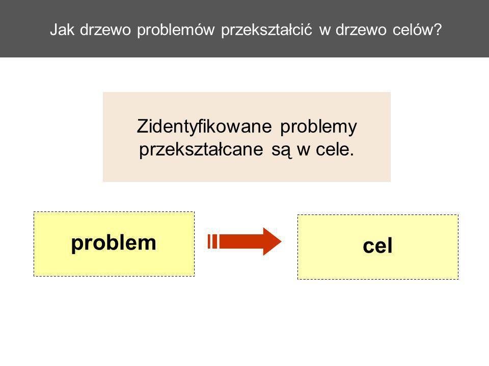 Jak drzewo problemów przekształcić w drzewo celów? Zidentyfikowane problemy przekształcane są w cele. cel problem