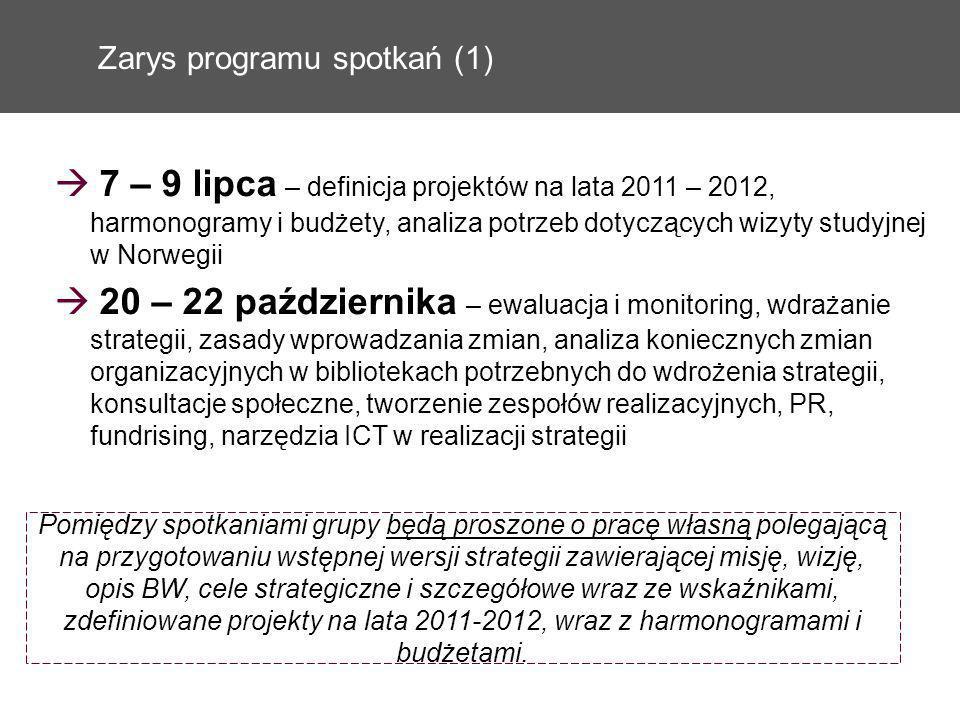Zarys programu spotkań (1) 7 – 9 lipca – definicja projektów na lata 2011 – 2012, harmonogramy i budżety, analiza potrzeb dotyczących wizyty studyjnej