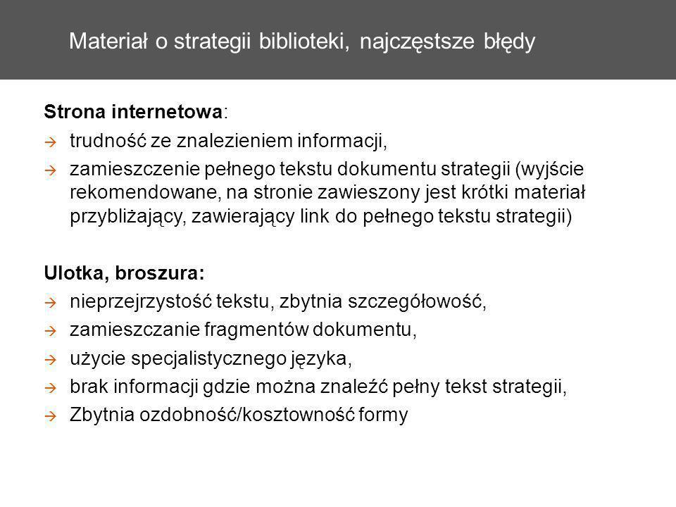 Materiał o strategii biblioteki, najczęstsze błędy Strona internetowa: trudność ze znalezieniem informacji, zamieszczenie pełnego tekstu dokumentu str