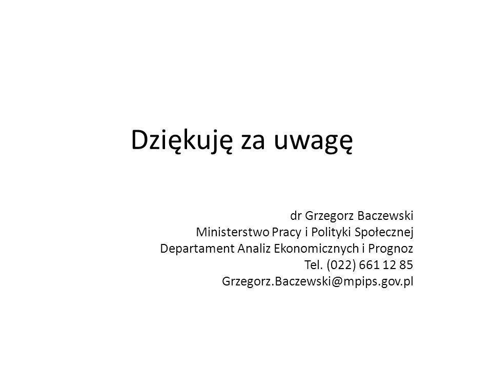 Dziękuję za uwagę dr Grzegorz Baczewski Ministerstwo Pracy i Polityki Społecznej Departament Analiz Ekonomicznych i Prognoz Tel. (022) 661 12 85 Grzeg