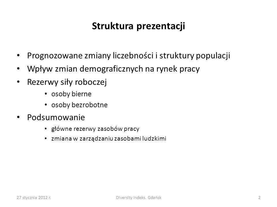 27 stycznia 2012 r.Diversity Indeks. Gdańsk2 Struktura prezentacji Prognozowane zmiany liczebności i struktury populacji Wpływ zmian demograficznych n