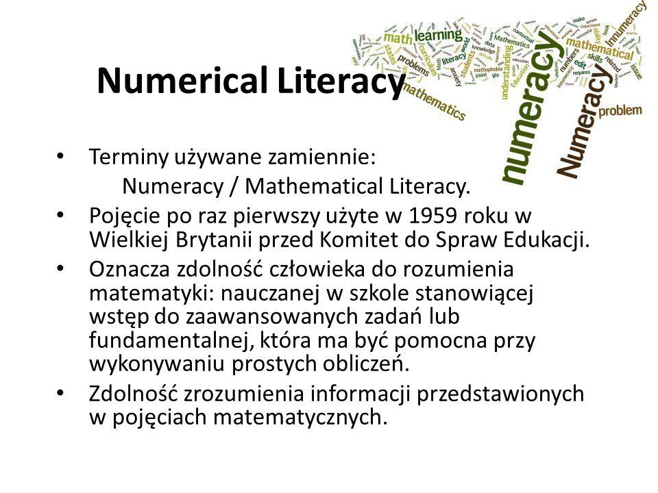 Numerical Literacy Terminy używane zamiennie: Numeracy / Mathematical Literacy.