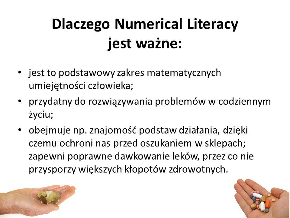 Dlaczego Numerical Literacy jest ważne: jest to podstawowy zakres matematycznych umiejętności człowieka; przydatny do rozwiązywania problemów w codziennym życiu; obejmuje np.