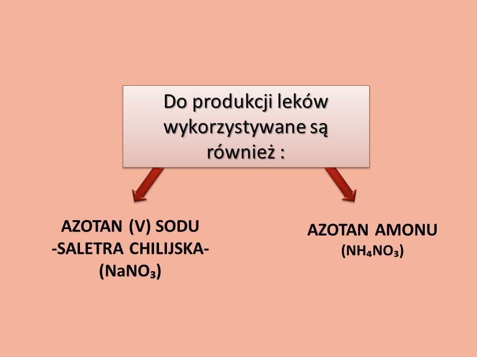 AZOTAN (V) SODU -SALETRA CHILIJSKA- (NaNO) AZOTAN AMONU (NHNO) Do produkcji leków wykorzystywane są również :