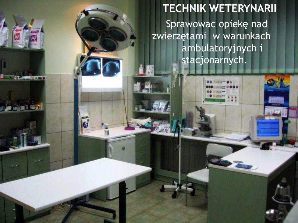 TECHNIK WETERYNARII Sprawowac opiekę nad zwierzętami w warunkach ambulatoryjnych i stacjonarnych.