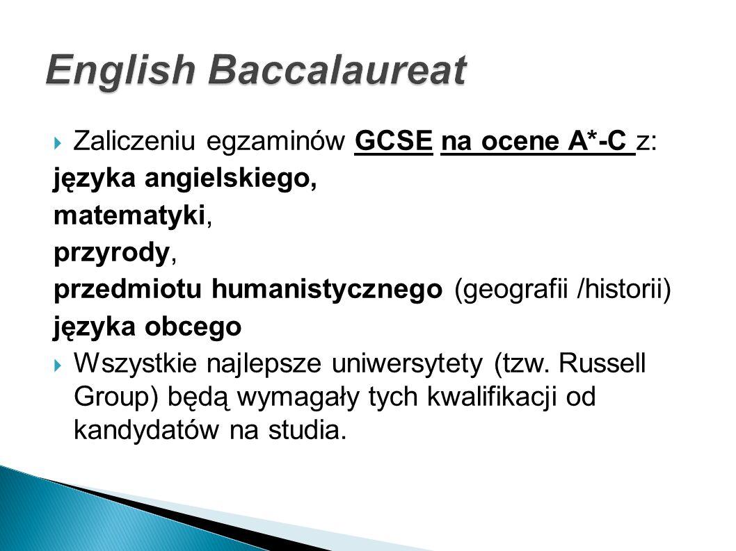 Zaliczeniu egzaminów GCSE na ocene A*-C z: języka angielskiego, matematyki, przyrody, przedmiotu humanistycznego (geografii /historii) języka obcego W