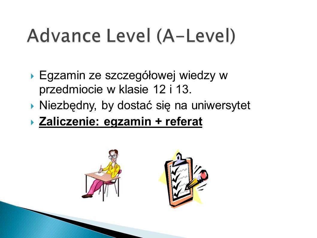 Egzamin ze szczegółowej wiedzy w przedmiocie w klasie 12 i 13. Niezbędny, by dostać się na uniwersytet Zaliczenie: egzamin + referat