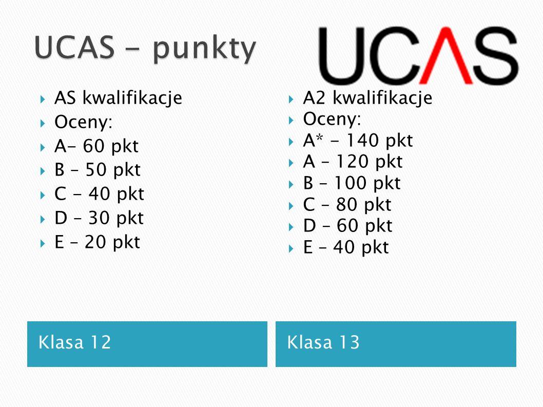Klasa 12 Klasa 13 AS kwalifikacje Oceny: A- 60 pkt B – 50 pkt C - 40 pkt D – 30 pkt E – 20 pkt A2 kwalifikacje Oceny: A* - 140 pkt A – 120 pkt B – 100
