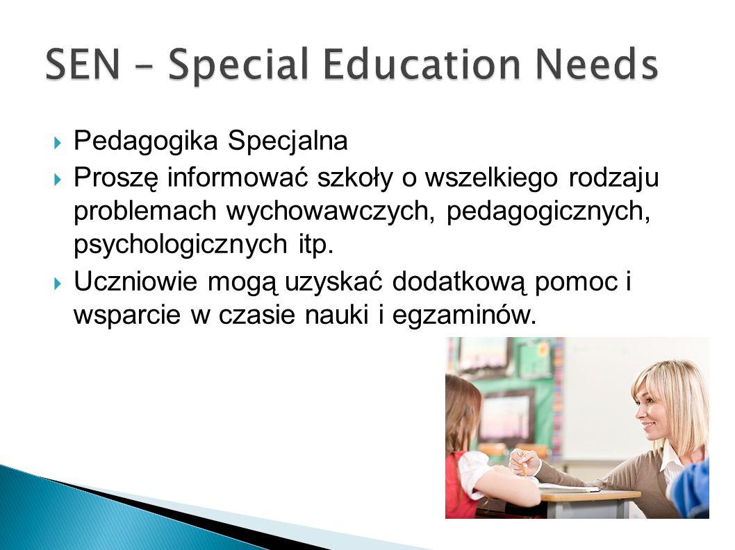 Pedagogika Specjalna Proszę informować szkoły o wszelkiego rodzaju problemach wychowawczych, pedagogicznych, psychologicznych itp. Uczniowie mogą uzys
