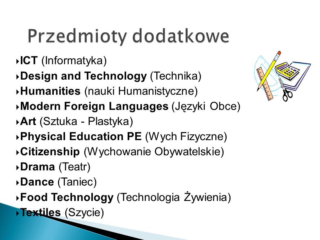 ICT (Informatyka) Design and Technology (Technika) Humanities (nauki Humanistyczne) Modern Foreign Languages (Języki Obce) Art (Sztuka - Plastyka) Phy