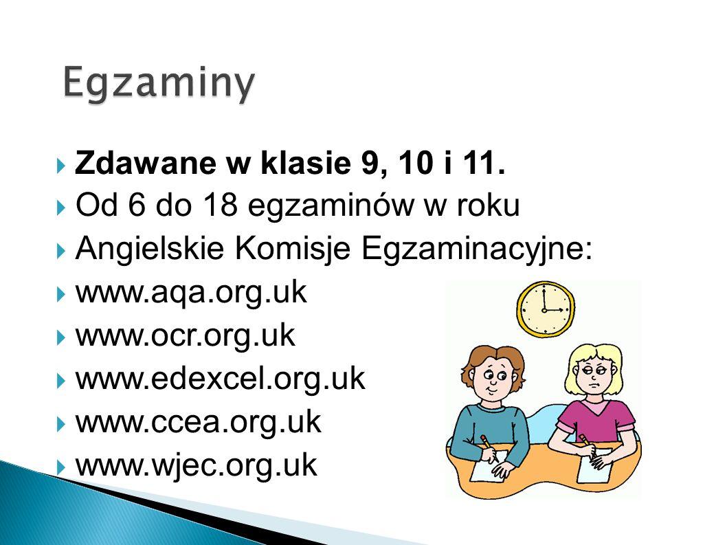 Zdawane w klasie 9, 10 i 11. Od 6 do 18 egzaminów w roku Angielskie Komisje Egzaminacyjne: www.aqa.org.uk www.ocr.org.uk www.edexcel.org.uk www.ccea.o