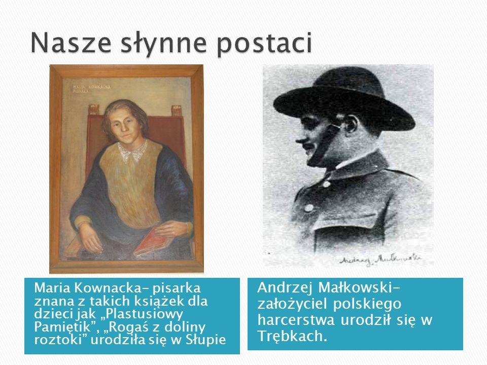 Maria Kownacka- pisarka znana z takich książek dla dzieci jak Plastusiowy Pamiętik, Rogaś z doliny roztoki urodziła się w Słupie Andrzej Małkowski- za