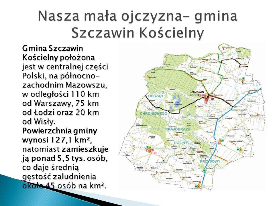 Gmina Szczawin Kościelny położona jest w centralnej części Polski, na północno- zachodnim Mazowszu, w odległości 110 km od Warszawy, 75 km od Łodzi or