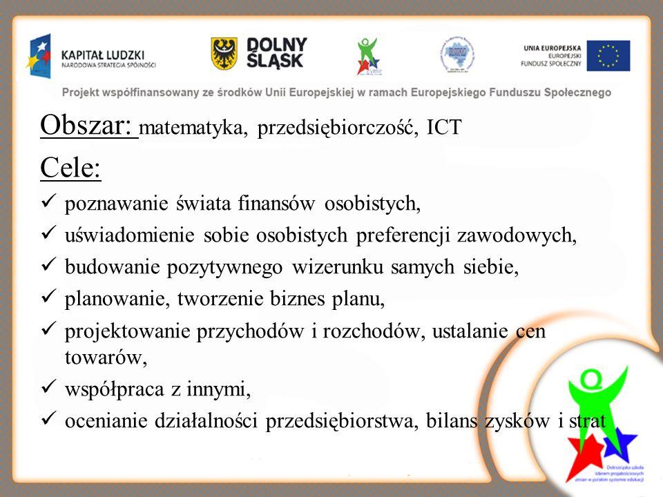 Obszar: matematyka, przedsiębiorczość, ICT Cele: poznawanie świata finansów osobistych, uświadomienie sobie osobistych preferencji zawodowych, budowan
