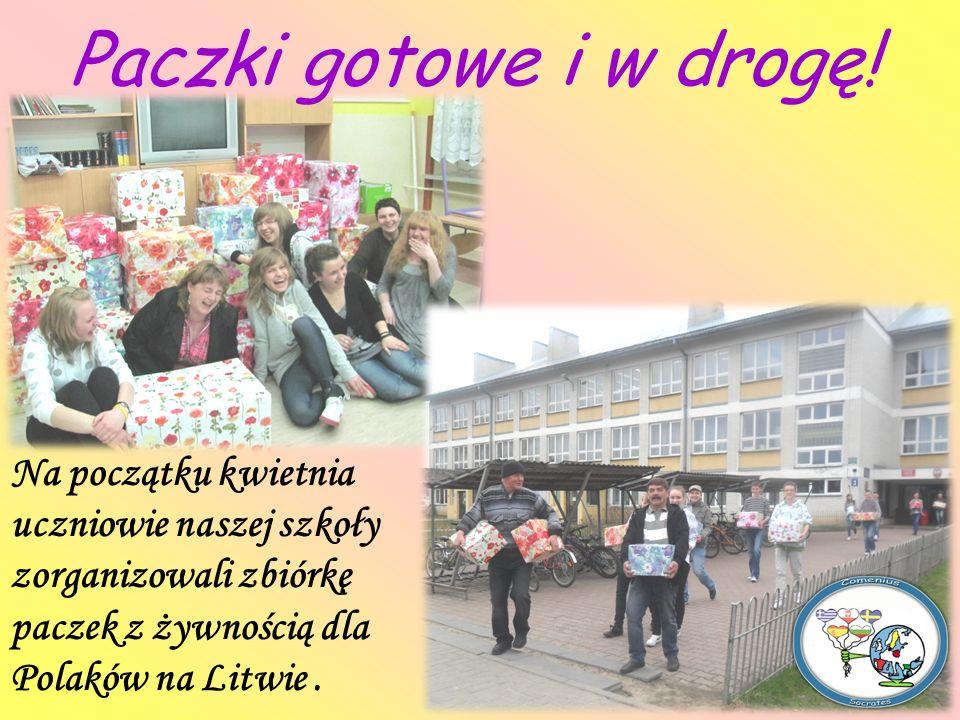 Paczki gotowe i w drogę! Na początku kwietnia uczniowie naszej szkoły zorganizowali zbiórkę paczek z żywnością dla Polaków na Litwie.